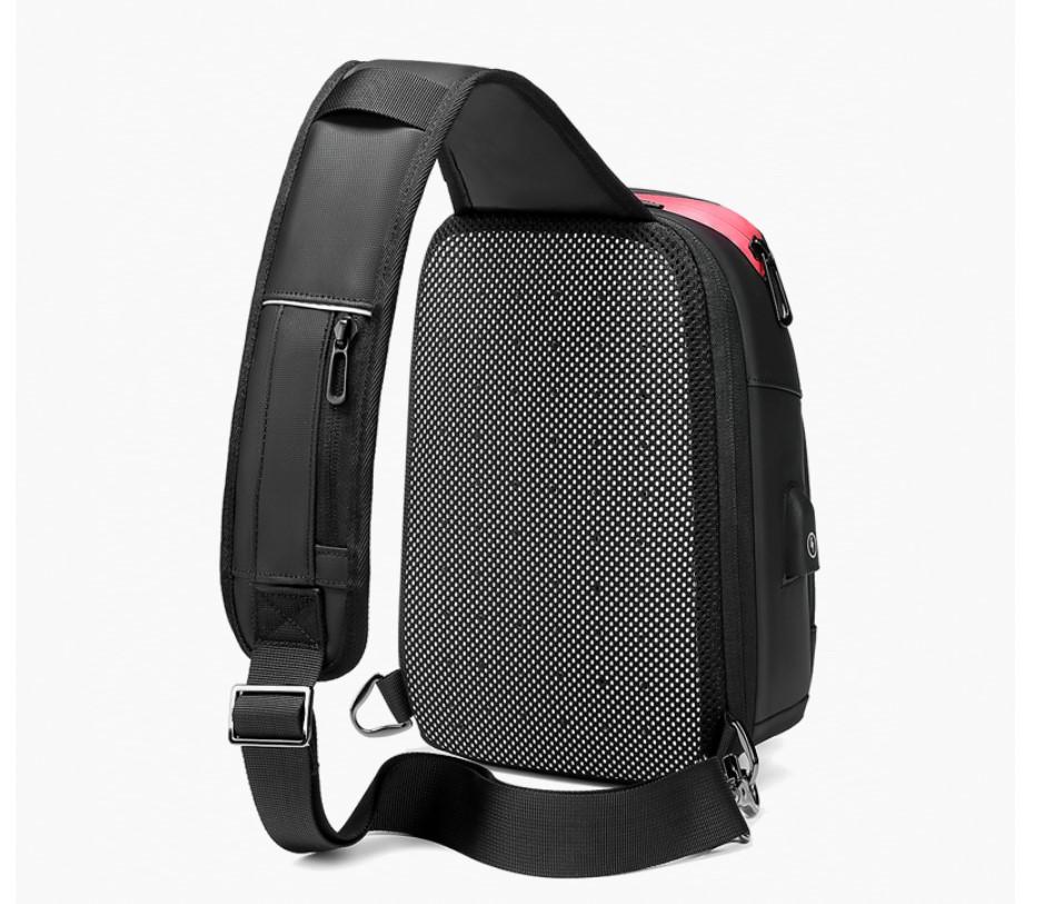 Men's Solid Black One Shoulder Backpack